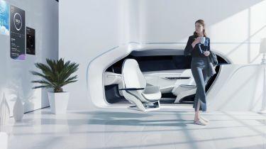 现代医疗保健驾驶舱调整座位,声音和闻起来,让司机快乐